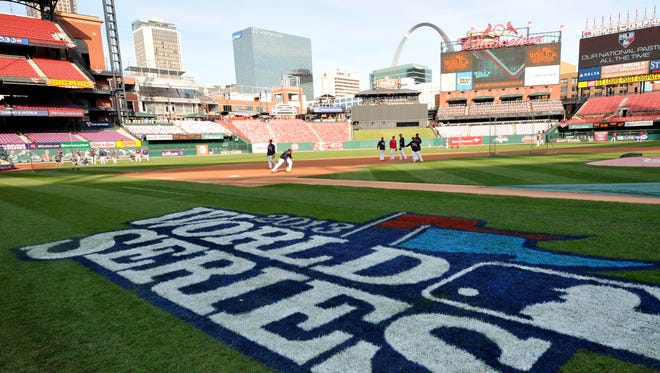 General view of the field during batting practice prior to Game 5 of the World Series at Busch Stadium.