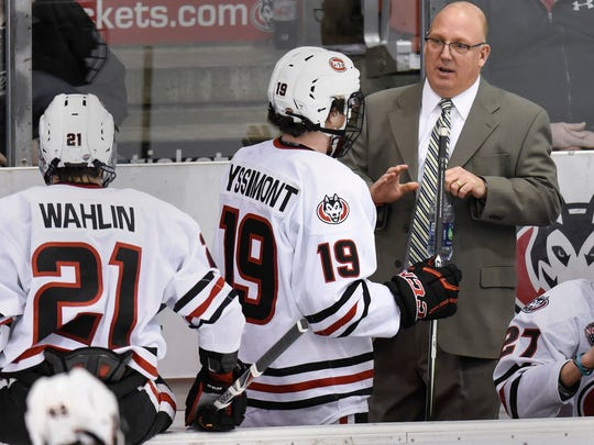 St. Cloud State head coach Bob Motzko talks to players during a game against Western Michigan Jan. 13 at the Herb Brooks National Hockey Center. Motzko and the Huskies make their fifth trip to the NCAA tournament in six years when they play Air Force on Friday.