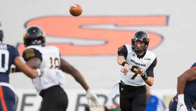 Southern Miss quarterback Nick Mullens throws the ball against the UTEP Miners on Saturday. Southern Miss defeated the Miners 34-7.
