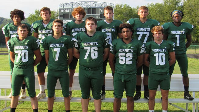 Returning lettermen for the 2020 Malvern football team are (Sam Foster, Noah Ball, Frank McClelland, Bryson White and Derk Hutchison; and (back row) Johnny Walker, Payton Davis, Tristan Phillips, Trent Severs, Colin Greene and Adam Moser.