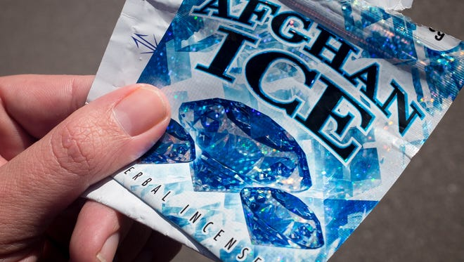 """Empty foil packets that contained the drug Spice are found near the Mesilla Valley Community of Hope. The drug is sold as """"potpourri"""" and """"herbal incense"""" in packaging with names such as Afghan Ice and Purple Flake."""