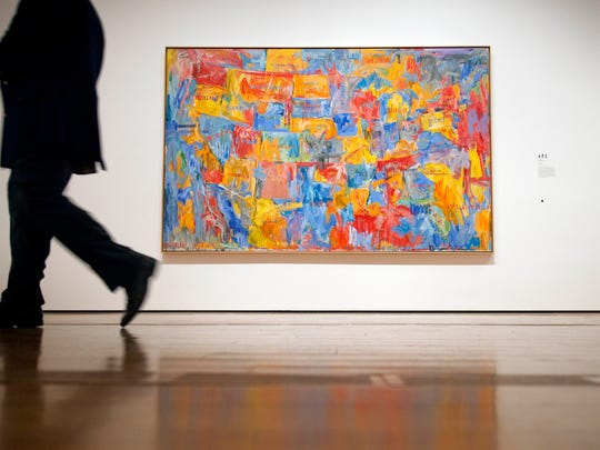 "Jasper Johns' painting ""Map"" hangs on display as part of a new exhibit Thursday, Oct. 6, 2011 in Atlanta. """