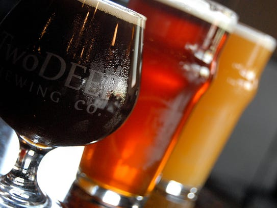 Fall beers from TwoDEEP Brewing. From left, Bourbon