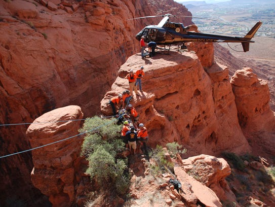 A Search and Rescue team in Washington County performs a helicopter rescue.