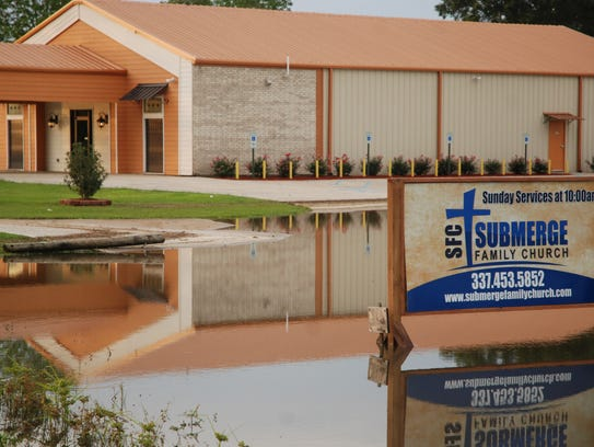 The Submerge Family Church sign on the Arnaudville