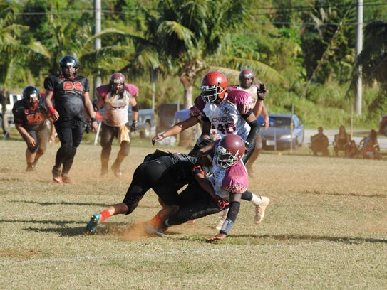 In this file photo, Outlaws defensive back Shane Hernandez stops a Chief in his tracks.