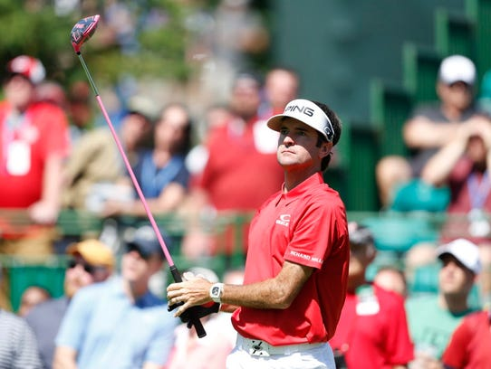 Bubba Watson tees off on the 15th hole during the third