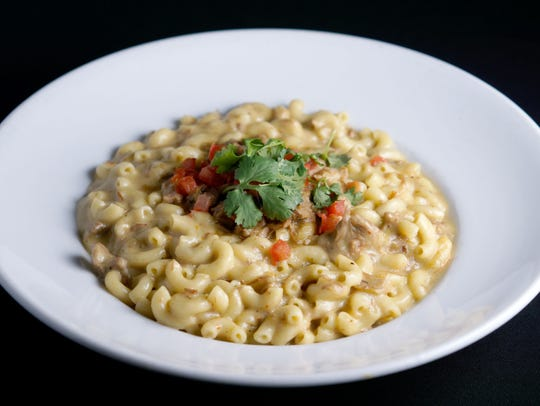 Pork chile verde mac and cheese from Ticoz Latin Kitchen