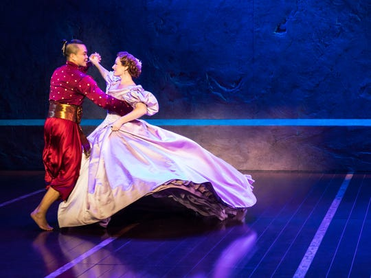 """Laura Michelle Kelly as teacher Anna Leonowens and Jose Llana as The King in the national tour of """"The King and I"""""""