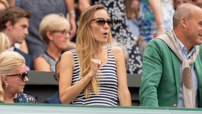 Jelena Djokovic takes in  the Novak Djokovic (SRB) and Rafael Nadal (ESP) match at Wimbledon at All England Lawn and Croquet Club.