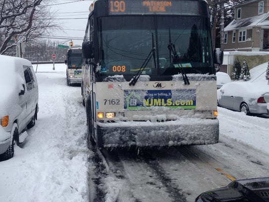Couple of stuck NJ Transit buses in Passaic.