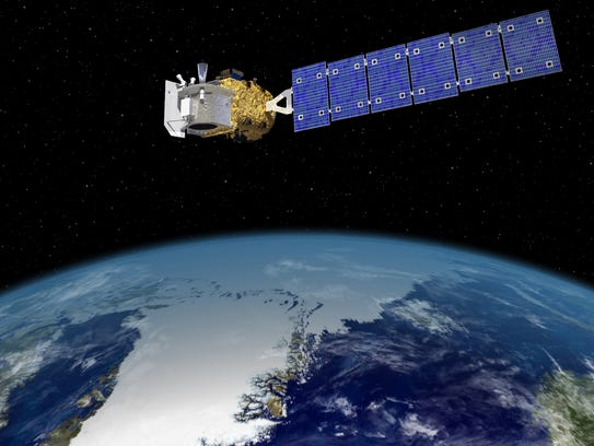 This artist's rendering shows the ICESat-2, which will
