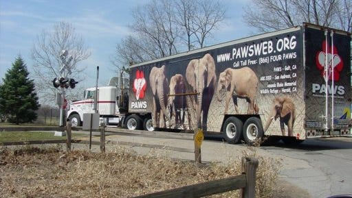 This is the semi-trailer truck that will transport elephants Winky and Wanda to their new home in California.