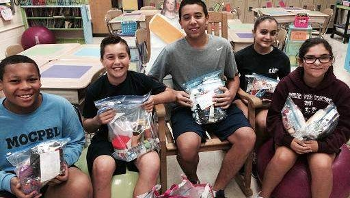 Photo of some of the Saint Aloysius Students and their 'Blessing Bags'