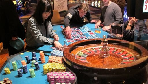 This April 17, 2015 photo shows a game of roulette under way at the Tropicana Casino and Resort in Atlantic City, N.J. On Friday Dec. 11, 2015, New Jersey lawmakers said they will seek a statewide referendum in Nov. 2016 in which voters would be asked whether to approve two new casinos in the northern part of the state. Expanding casino gambling beyond Atlantic City requires amending the state Constitution. (AP Photo/Wayne Parry)
