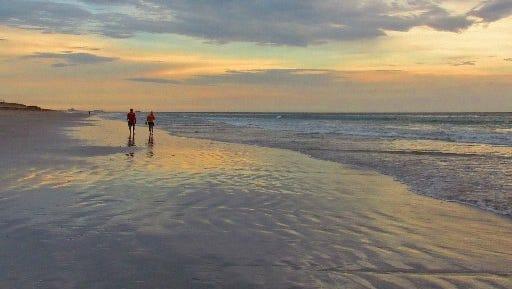 """Early morning beach walk at low tide"" August 18, 2016, at Walton Rocks Beach on Hutchinson Island."