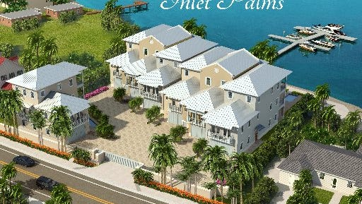 Inlet Palms, a group of seven, three-story luxury town houses, will be built on the south side of Fort Pierce Inlet on Seaway Drive.