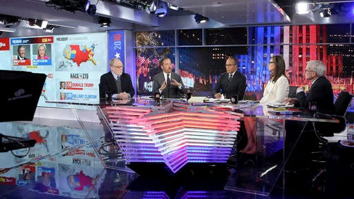 In this Nov. 8, 2016 photo released by NBC, an election map appears in the background as Mike Murphy, from left, Chuck Todd, Lester Holt, Savannah Guthrie and Tom Brokaw, appear during NBC News coverage of the election in New York.