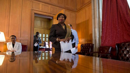 In this Feb. 9, 2016, file photo, Senate Democratic Conference Leader Andrea Stewart-Cousins, D-Yonkers, arrives for a news conference at the Capitol in Albany, N.Y.