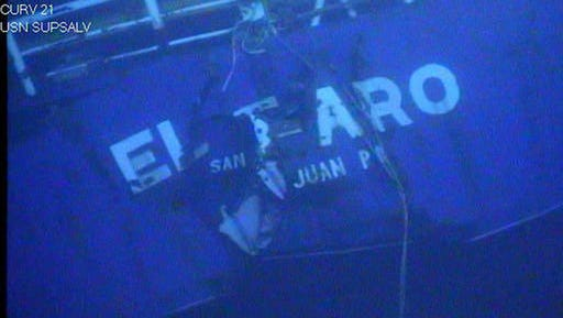 This undated image made from a video by the National Transportation Safety Board shows the stern of the sunken ship El Faro. Federal accident investigators are releasing a transcript of audio recovered from the bridge of the doomed freighter El Faro, which sank last year in a hurricane near the Bahamas. The recordings transcribed from the ship's voyage data recorder are set to be released Tuesday, Dec. 13, 2016, by the NTSB in Washington, D.C.