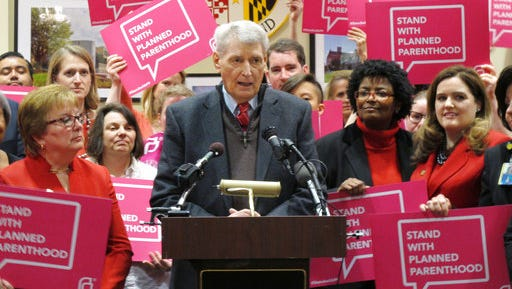 FILE - In this Wednesday, March 8, 2017, file photo, Maryland House Speaker Michael Busch speaks at a news conference in Annapolis, Md., in support of legislation to continue funding for services provided by Planned Parenthood. Democratic lawmakers in some states including Maryland are pressing ahead with efforts to protect birth control access, Planned Parenthood funding and abortion coverage in case they are jeopardized in the future.