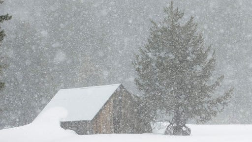 Snow falls on a meadow near the site where the Department of Water Resources conducts the snow survey, Thursday, March 30, 2017, near Echo Summit, Calif.