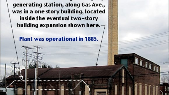 Southeast Looking View of former Met-Ed Steam Heat Generating Plant (S. H. Smith, 2015 Photo of the Pershing Avenue and Gas Avenue corner of the Plant; Annotated by S. H. Smith, 2015)