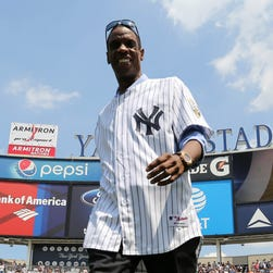 Dwight Gooden is introduced as the New York Yankees honor the 1996 World Series team at Yankee Stadium.