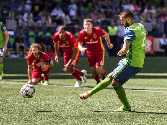 Seattle Sounders' Clint Dempsey takes a penalty kick in the second half of an MLS soccer game against Real Salt Lake Saturday, May 20, 2017.