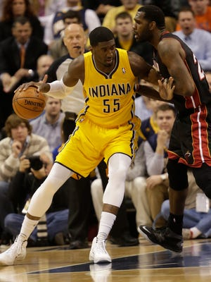 Greg Oden, right, is the only player on the Heat who can match up with the Pacers' Roy Hibbert, size-wise. But he struggled Wednesday.