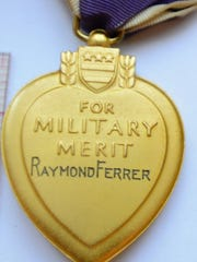 The Purple Heart awarded to Raymond Ferrer, found in a defunct Connecticut pawn shop.