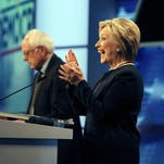 Democratic presidential candidates Bernie Sanders and Hillary Clinton debate at the Miami Dade College Kendall Campus.