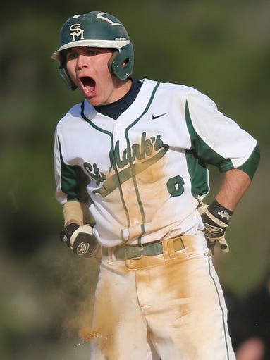 St. Mark's Tommy Freeland reacts after delivering a triple to bring in two runs before scoring himself and capping a five run fifth inning against Caravel in St. Mark's home win, Thursday, April 17, 2014.