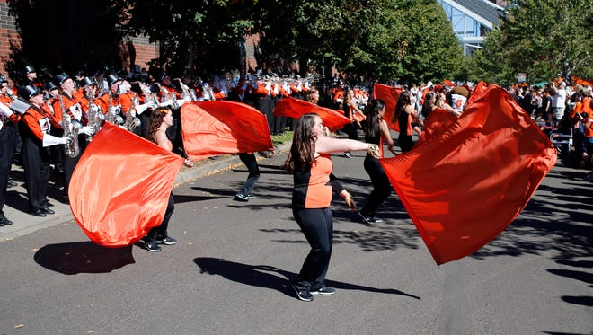 Oregon State band performs an NCAA college football game in Corvallis, Ore., Saturday, Sept. 19, 2015