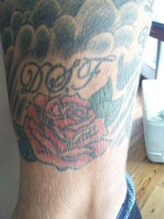 A tattoo of a rose on Riley Ferguson's left arm.