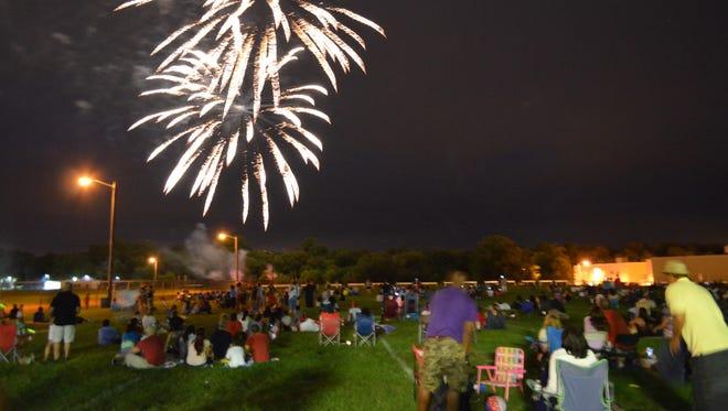 Vineland's Fourth of July fireworks light up the sky around Vineland High School on Saturday.