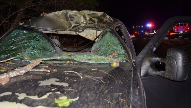 A deer smashed through the windshield of this pickup Tuesday evening, killing the driver.