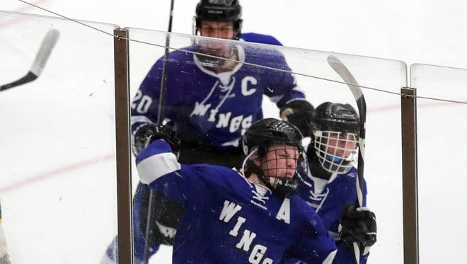 Waukesha's Griffin Nickerson (front)  celebrates his goal that evened the game at 1-1 against D.C Everest in a WIAA quarterfinal on Thursday at Veterans Memorial Coliseum in Madison.