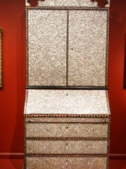"""Desk-and-Bone from 18th century Peru done in mother-of-pearl veneer in Winterthur Museum's """"Made in the Americas: The New World discovers Asia."""""""