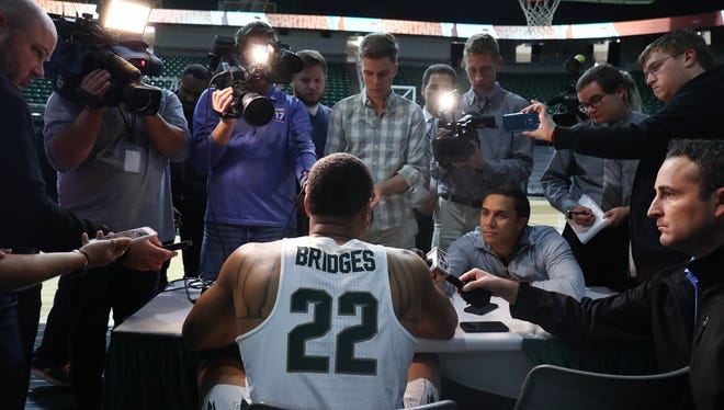 Michigan State guard Miles Bridges talks with reporters during media day Wednesday, Oct. 11, 2017 at the Breslin Center in East Lansing.