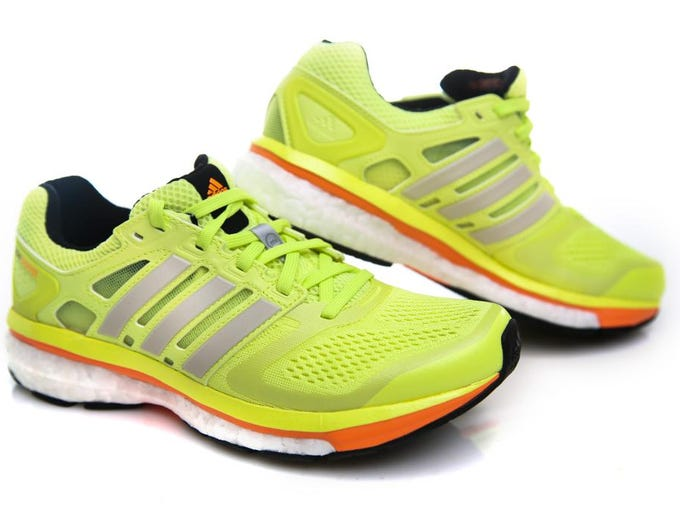 Adidas Supernova Glide shoe in the hot new lemon at Swags. Feb. 27, 2014