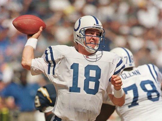 Indianapolis Colts quarterback Peyton Manning drops