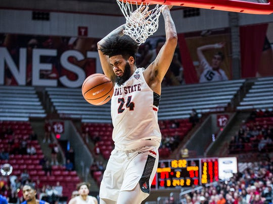 Ball State's Trey Moses dunks against Buffalo at Worthen