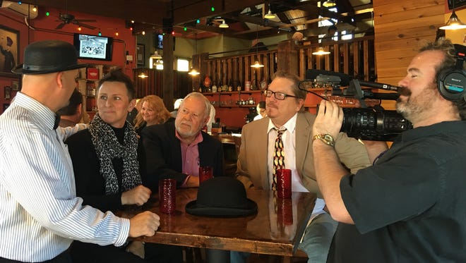From left, sommelier Scott Williamson, Jazz Garden Manager Amy Thorpe, singer Jim Griffiths and Jazz Garden host Carlyle Potter during a recent George TV interview.