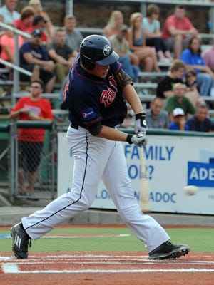 Chillicothe's Jamie Lackner swings at a pitch against the Champion City Kings Thursday, June 30, 2016, at VA Memorial Stadium. Lackner and three of his teammates were named Prospect League All-Stars this week.