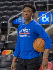 Feb 12, 2017; Toronto, Ontario, CAN; Pistons forward Stanley Johnson warms up before the game against the Raptors at Air Canada Centre.