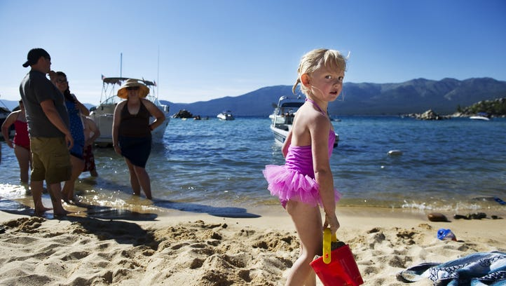 Lake Tahoe-Nevada State Park: Audrey Tucker, 3, plays