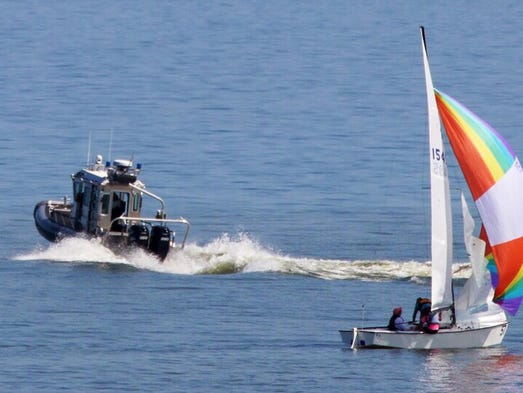 A Sheboygan County Sheriff boat responds Thursday August 7, 2014 to report of a boater in trouble on Lake Michigan near Sheboygan.  The Sheriff and the U.S. Coast Guard responded to the situation and found that no one was in distress.