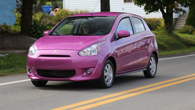 Mitsubishi hopes to draw more U.S. buyers with the 74-hp, 3-cylinder, 2014 Mirage, which starts $13,790 and has models rated as high as 44 mpg on the highway.