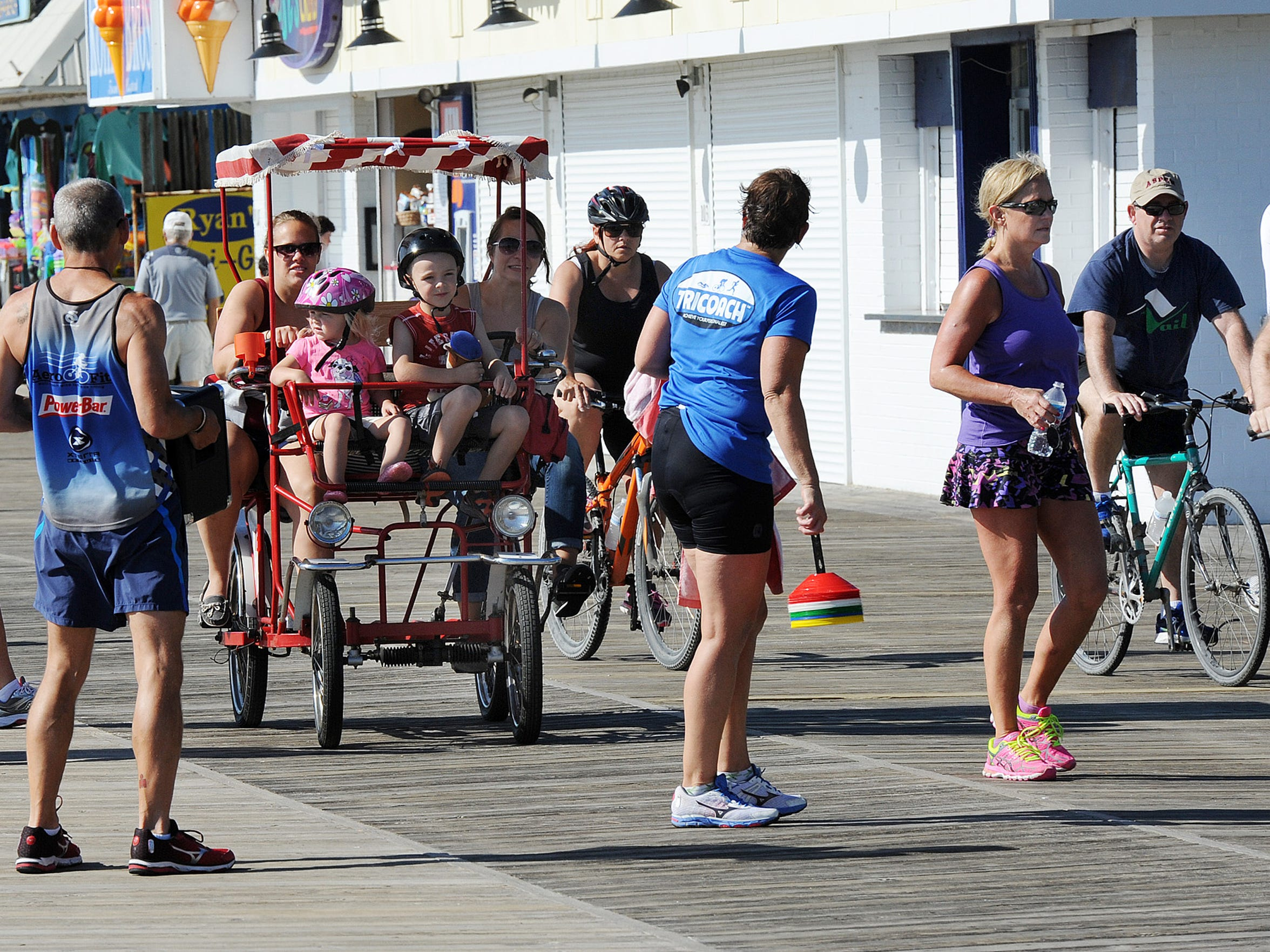 Bicyclists can ride the Boardwalk in Rehoboth Beach from 5 a.m.-10 a.m. daily, as they share with pedestrians.